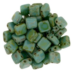Mărgele presate Tile CzechMates 6mm. T63150 Persian turquoise Picasso
